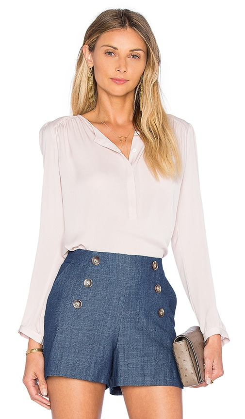 Rebecca Taylor Long Sleeve Double Georgette Top in Pink