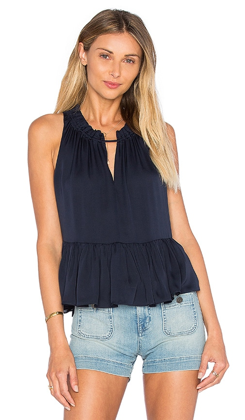 Rebecca Taylor Sleeveless Double Georgette Peplum Top in Navy