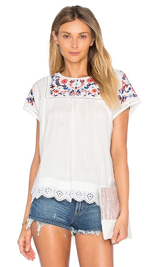 Rebecca Taylor Short Sleeve Garden Embroidered Top in Snow