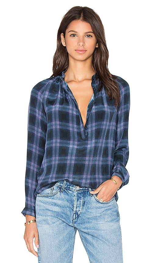 Rebecca Taylor Long Sleeve Plaid Top in Blue