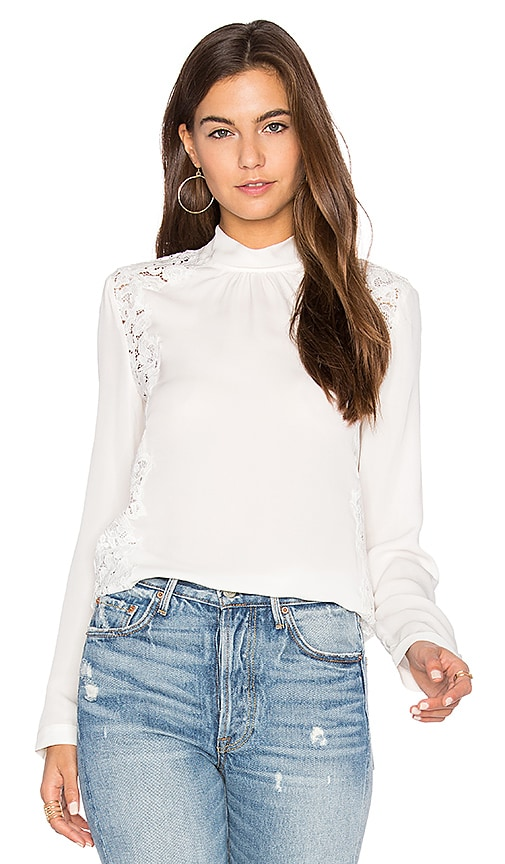Rebecca Taylor Long Sleeve Georgette & Lace Top in White