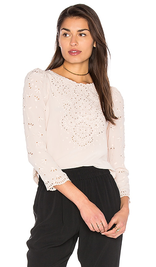 Rebecca Taylor Teardrop Eyelet Top in Blush