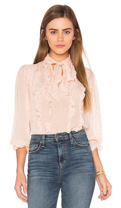 Rebecca Taylor Long Sleeve Metallic Dot Blouse in Pink