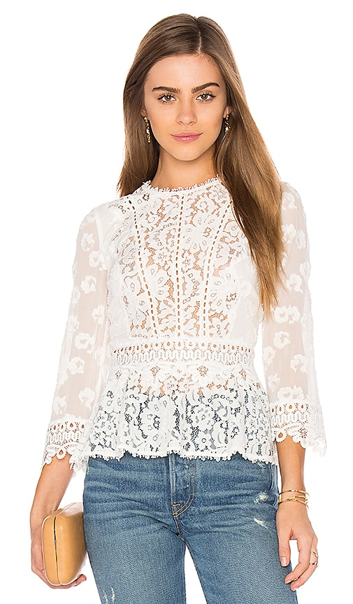 Rebecca Taylor Long Sleeve Mix Top in White