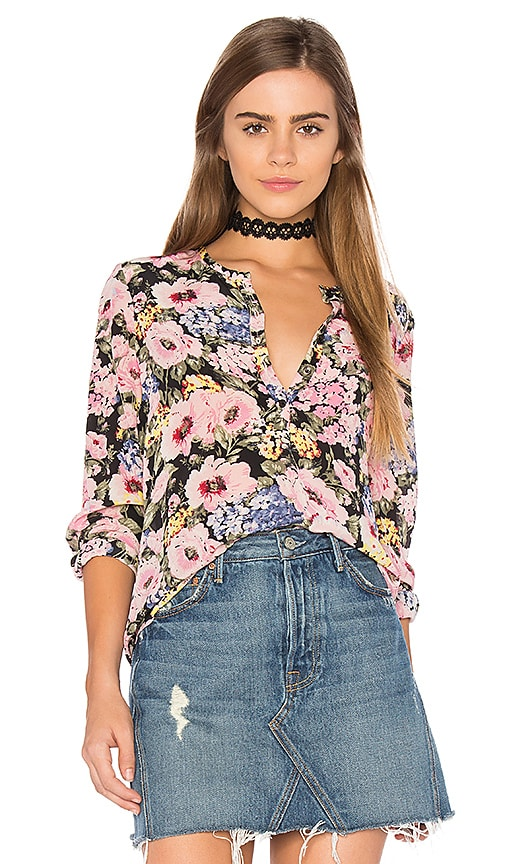 Rebecca Taylor Long Sleeve Lavinia Rose Top in Pink