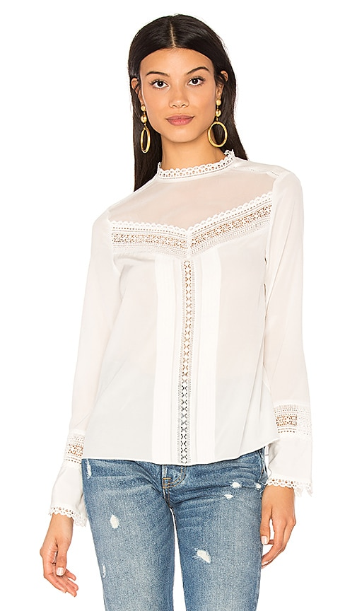 Rebecca Taylor Long Sleeve Lace Silk Top in White