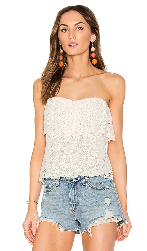 Rebecca Taylor Eliza Off Shoulder Lace Top in White