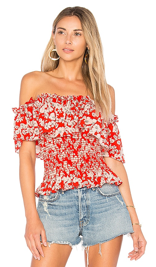 Rebecca Taylor Cherry Blossom Top in Red