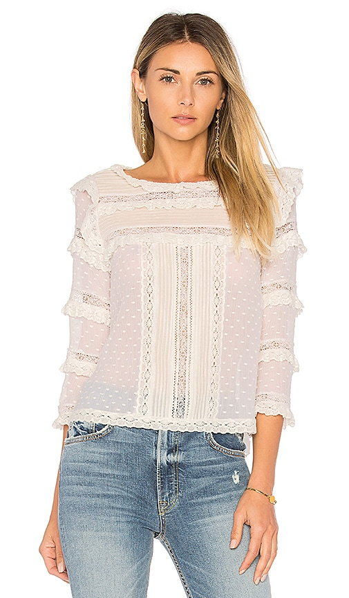 Rebecca Taylor Moon Dot Top in White