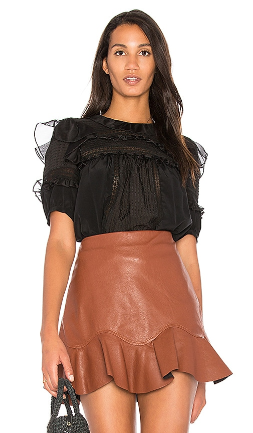 Rebecca Taylor Silk & Lace Blouse in Black