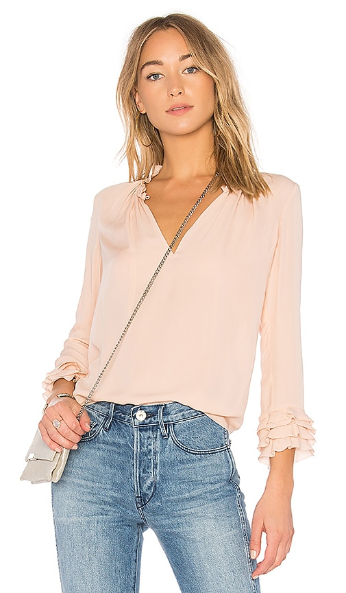 Rebecca Taylor Ruffle Blouse in Pink