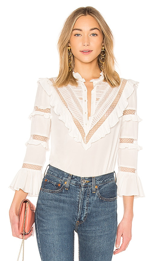 Rebecca Taylor Silk & Lace Top in Ivory