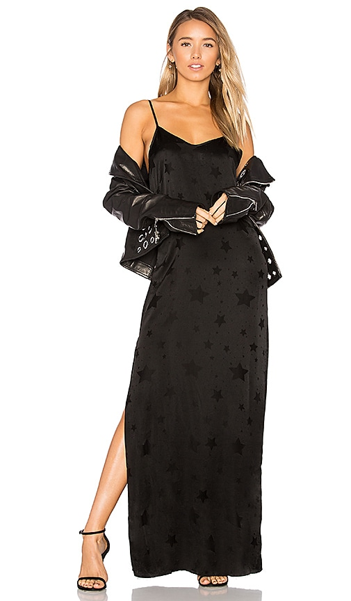 RtA Marlene Star Print Slip Dress in Black