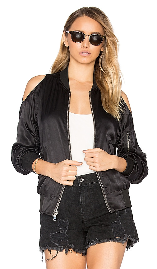 RtA Jester Silk Bomber Jacket in Black