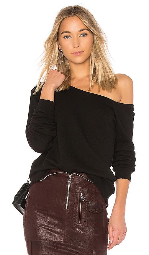 RtA Claudine One Shoulder Sweatshirt in Black