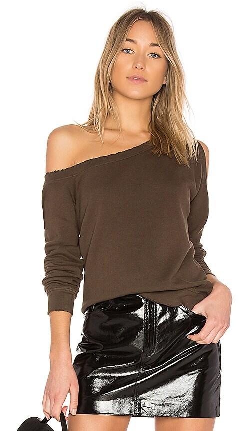 RtA Willow One Shoulder Sweatshirt in Olive