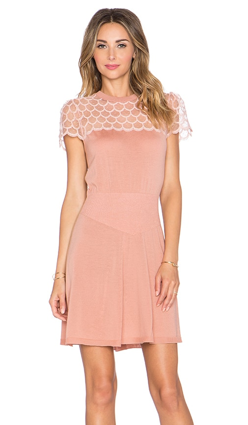 Red Valentino Scallop Neck Mini Dress in Nude