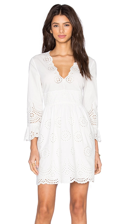 Red Valentino Eyelet Mini Dress in White