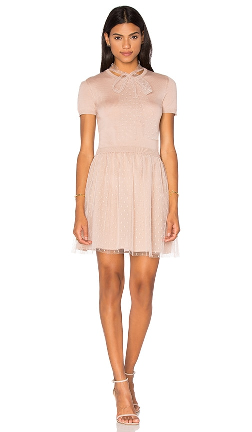 Red Valentino Short Sleeve Tulle Sweater Dress in Nudo