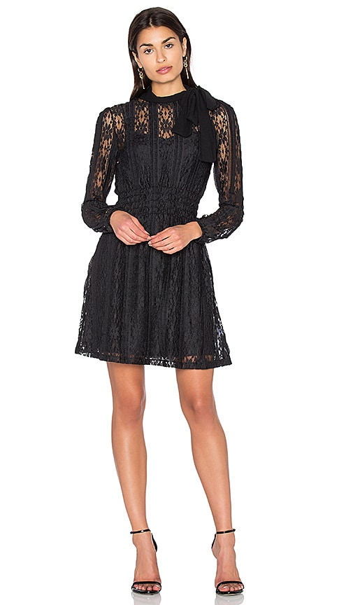 Red Valentino Tie Neck Lace Dress in Black