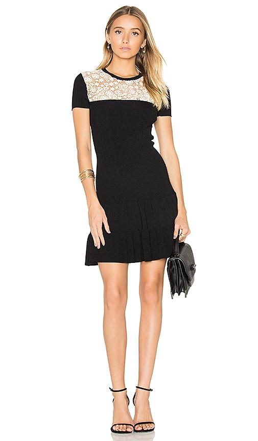 Red Valentino Short Sleeve Drop Waist Mini Dress in Black