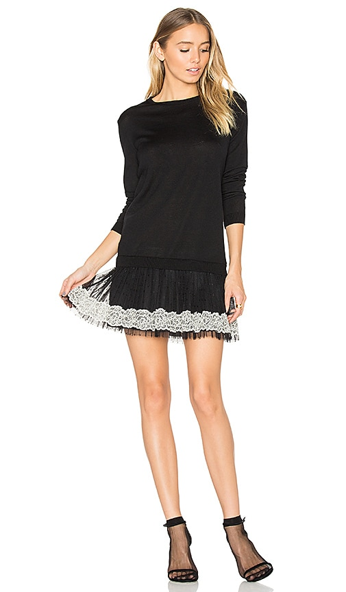Red Valentino Long Sleeve Tulle Mini Dress in Black