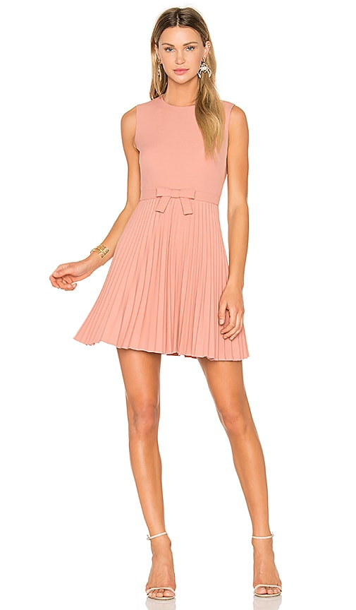 Red Valentino Sleeveless Pleated Mini Dress in Rose