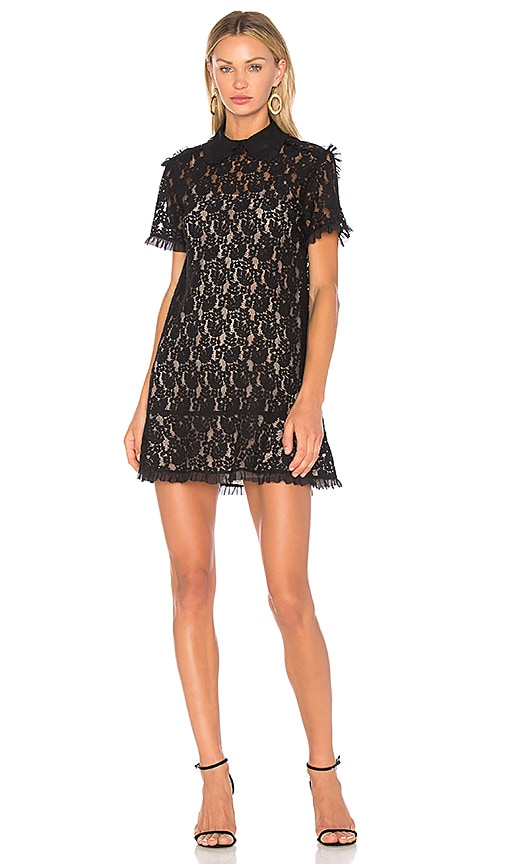 Red Valentino Lace Peplum Dress in Black
