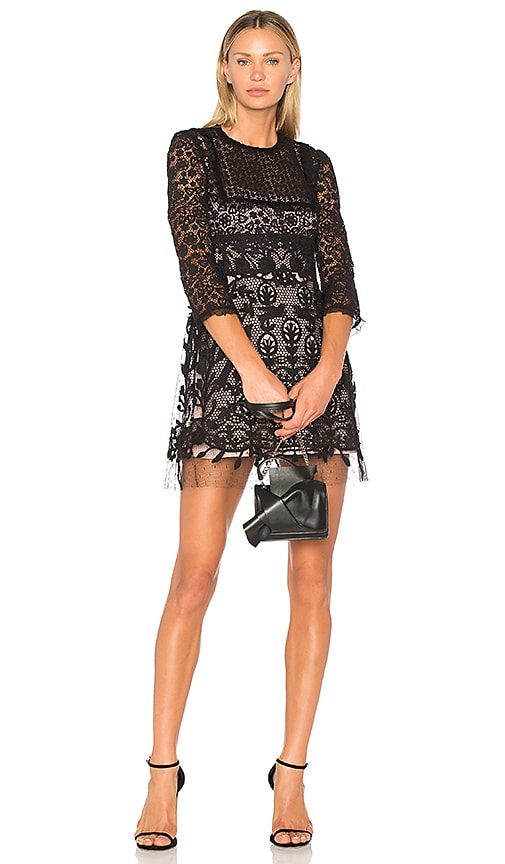 Red Valentino Lace Fit & Flare Mini Dress in Black