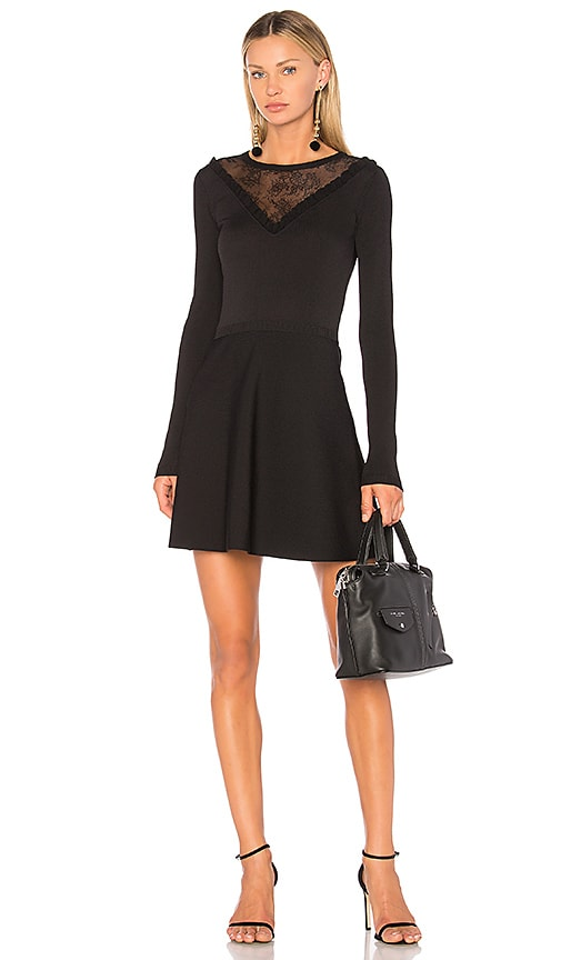 Red Valentino Lace Insert Mini Dress in Black