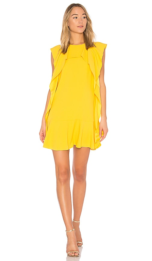 Red Valentino Ruffle Mini Dress in Yellow