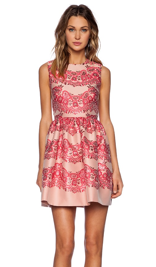 Lace Brocade Fit and Flare Dress