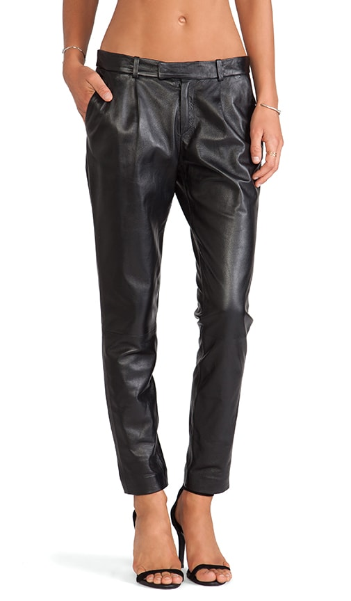 Straight Leg Leather Pants