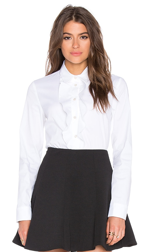 Red Valentino Ruffle Blouse in White