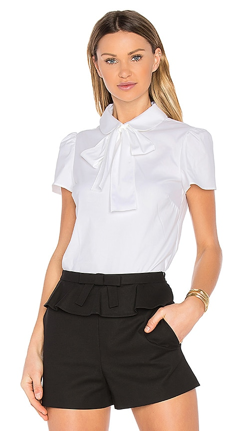 Red Valentino Tie Neck Short Sleeve Top in White