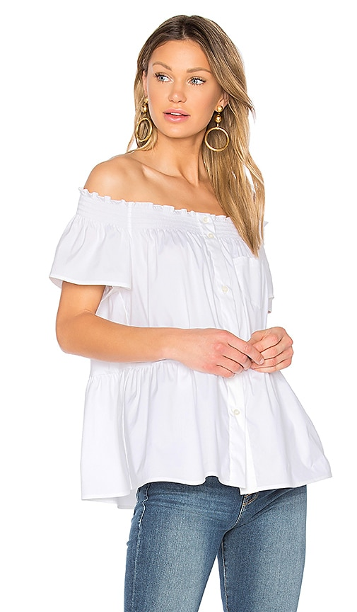 Red Valentino Off The Shoulder Button Up Top in White