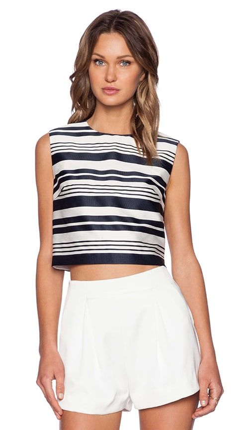 Red Valentino Striped Jacquard Top in Navy