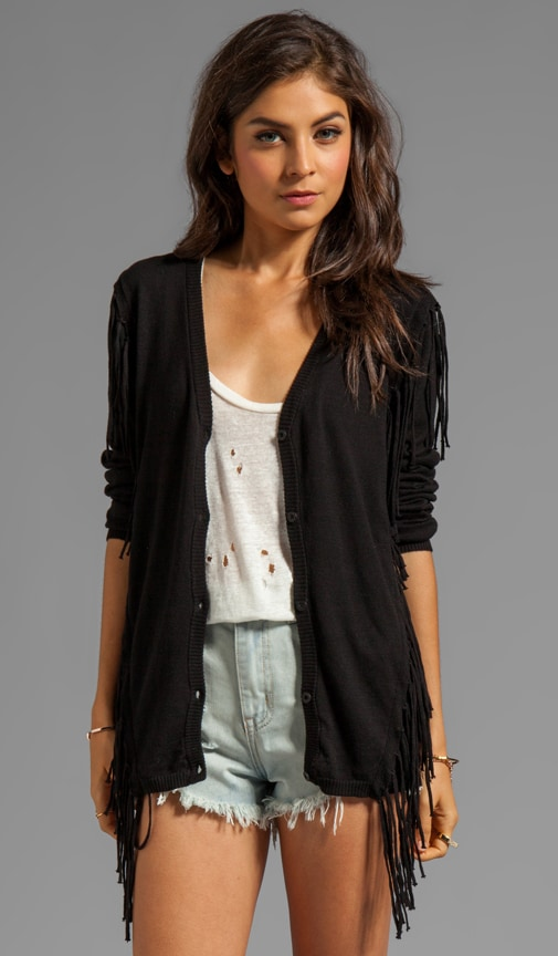 Whiskey V Neck Cardigan with Fringe