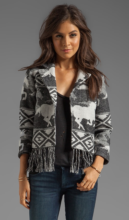 Van Zant Wool Blend Jacket with Wild Horses Jacquard Artwork