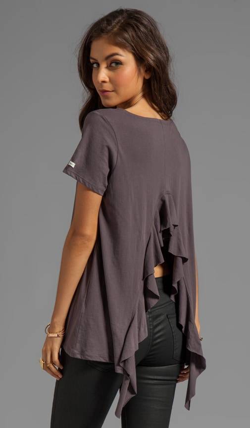 Hutton S/S Jersey Shirt With Open Back and Self Ruffle Drape