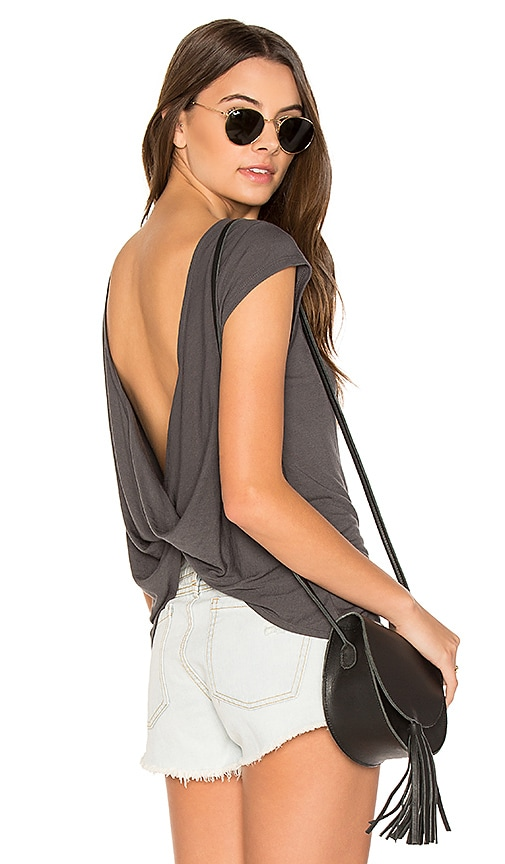 RVCA Label Cowl Back Tee in Charcoal