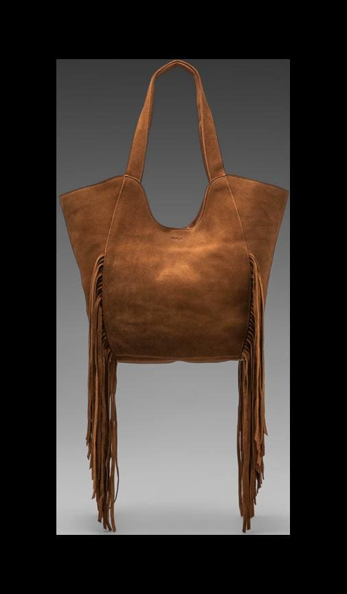 Ballesterros Suede Tote with Fringe