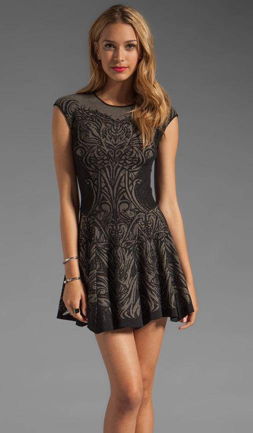 Tattoo Lace Jacquard Flared Dress