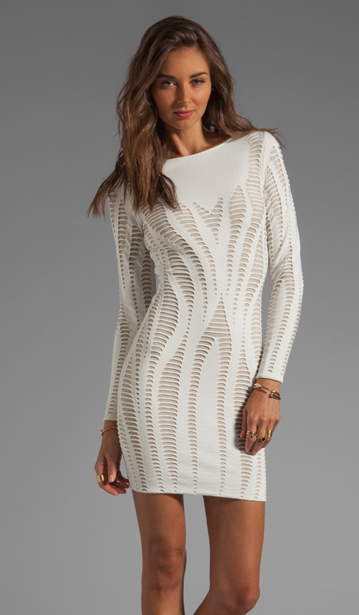 Cutout Illusion Jacquard Long Sleeve Dress