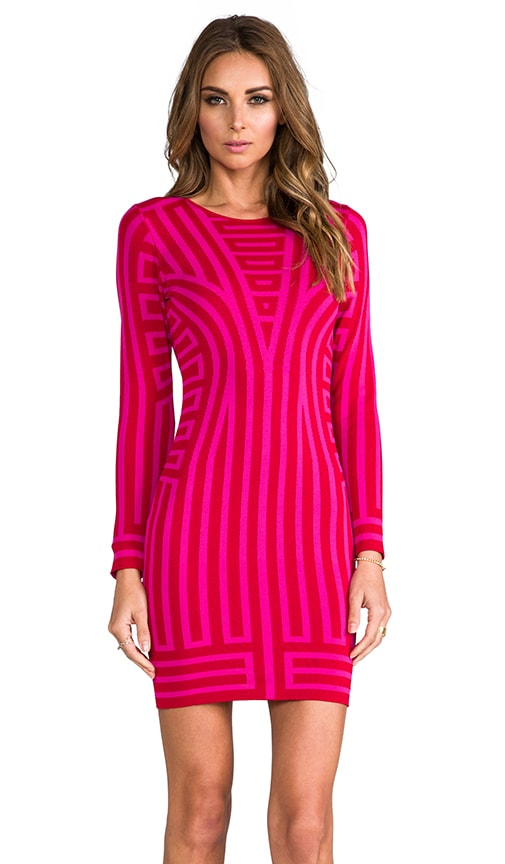 Deco Stripe Long Sleeve Jacquard Dress