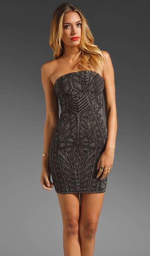 Abstract Jacquard Strapless Dress