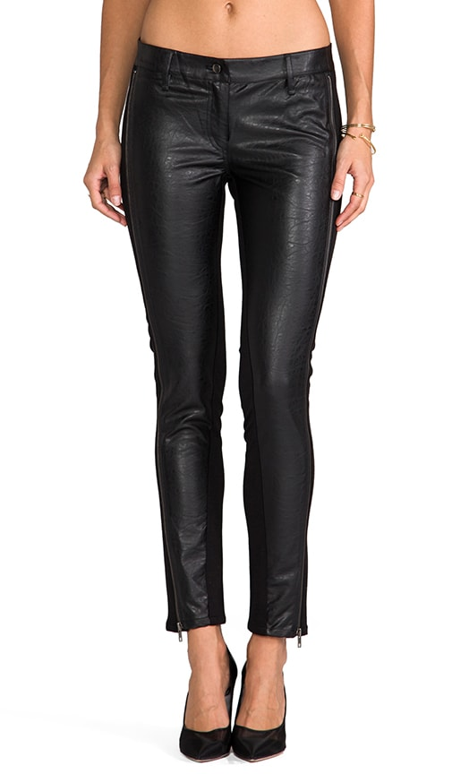 Faux Textured Leather Zipper Leggings