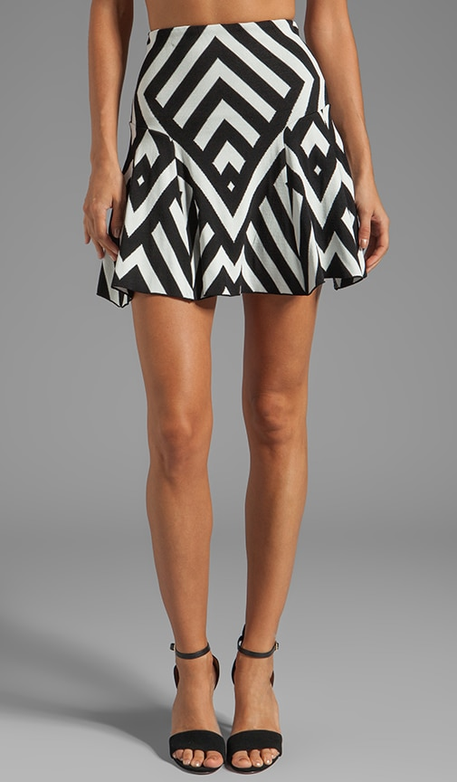 Graphic Stripe Jacquard Flared Skirt