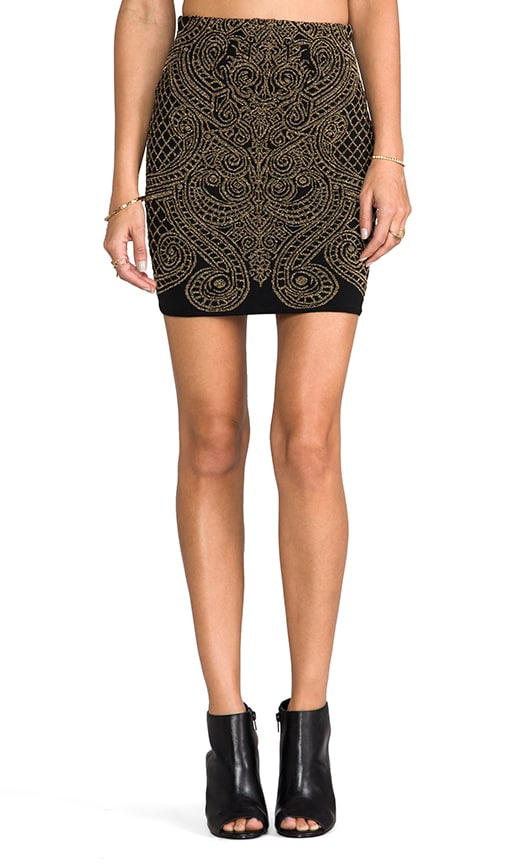 Metallic Baroque Jacquard High Waisted Skirt