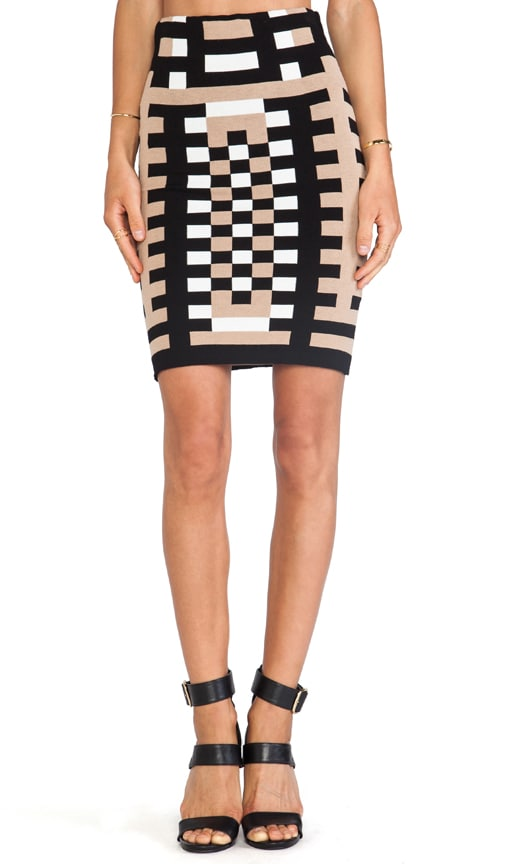Mondrian Jacquard 3/4 Length Sheath Skirt